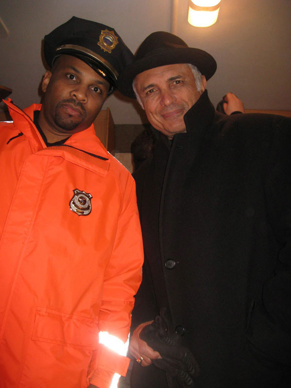 Malik Williams plays a convincing cop with Donnie Brasco star Robert Miano on the set of Boston Girls