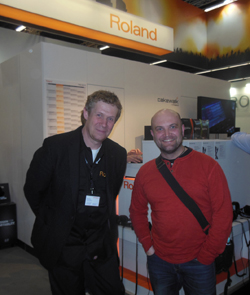 Roland Germany's Michael Menze with Jochen Flach at MusikMesse