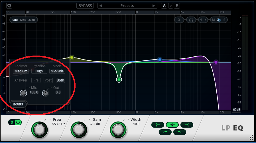 the LP EQ's Expert Mode access Mid-Side processing