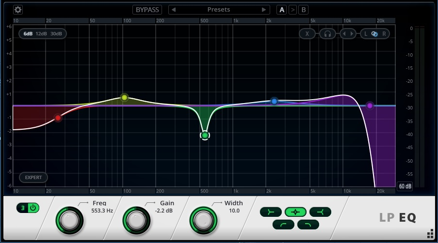 The LP EQ allows up to 20 nodes
