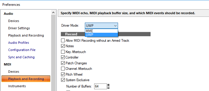 Setting up UWP Bluetooth MIDI device in SONAR